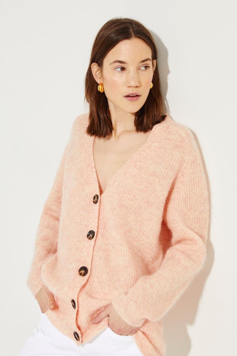 Mohair-Woll-Cardigan Rosé