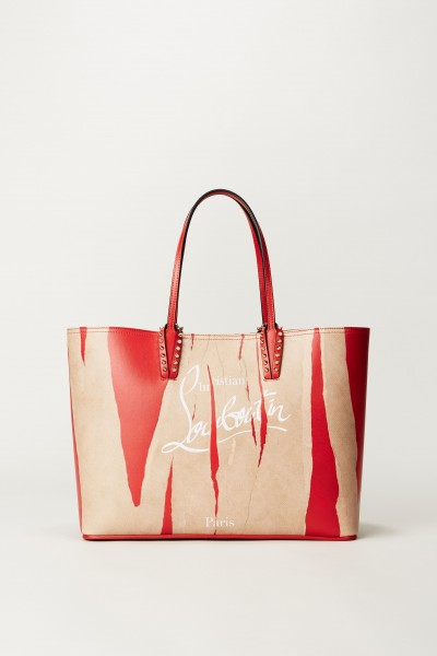 Shopper mit Logo-Schriftzug 'Cabata' Beige/Rot