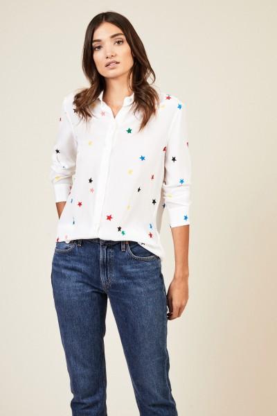 Seidenbluse 'Essential' mit Sternenprint Weiß/Multi