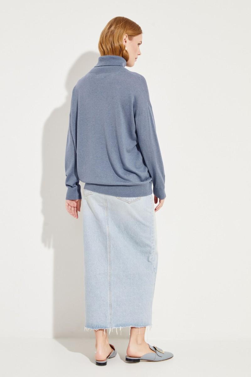 Seiden-Cashmere-Rollkragenpullover Blau