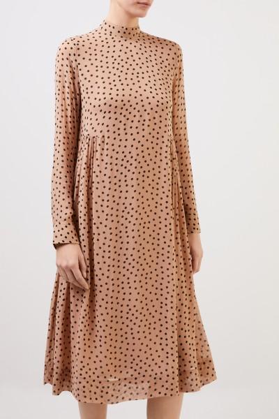 Ganni Midi-Kleid mit Polka Dots Beige/Multi