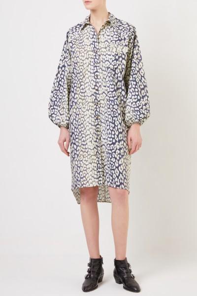 Hemdblusenkleid mit Leoprint Beige/Blau