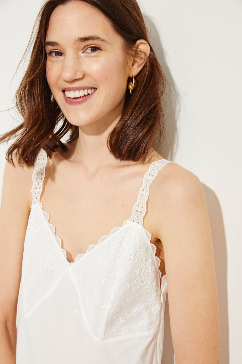 Stella McCartney Cotton dress with embroidery White