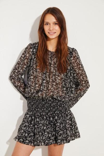 Seiden-Kleid mit Print Schwarz/Weiß