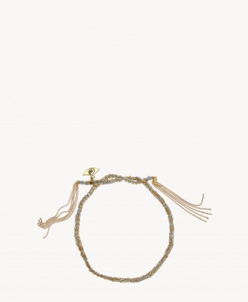 Armband 'Lucky Bracelet' Hellblau/18 Kt. Gelbgold