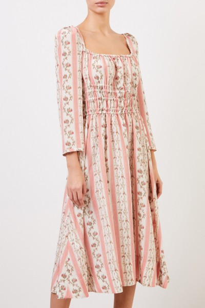 Brock Collection Silk dress with shortened sleeves Rosé/Multi