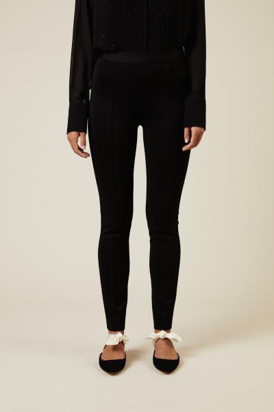 Hose mit Reißverschlussdetail Schwarz