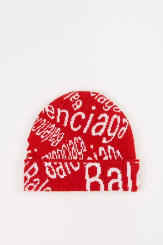 Balenciaga Wollmütze mit Logo-Details Weiß/Rot