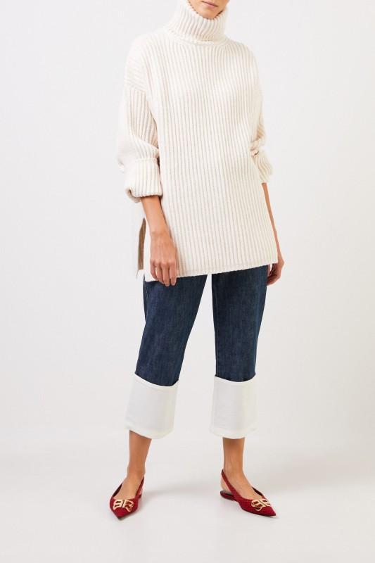 Acne Studios Woll-Rollkragenpullover 'New Disa' Crème
