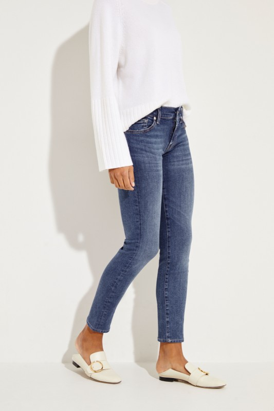 7 for all mankind Mid-Rise Skinny Jeans 'Roxanne' Blau