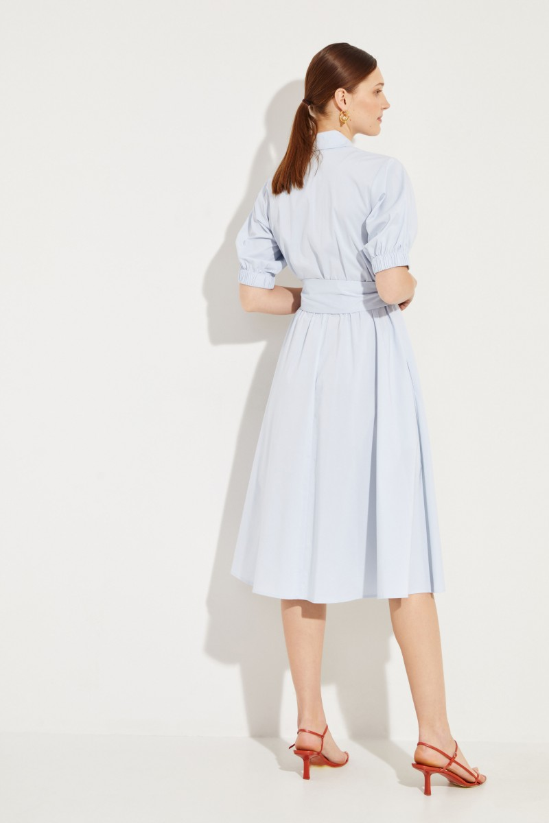 Hemdbusenkleid mit Binde-Detail Blau