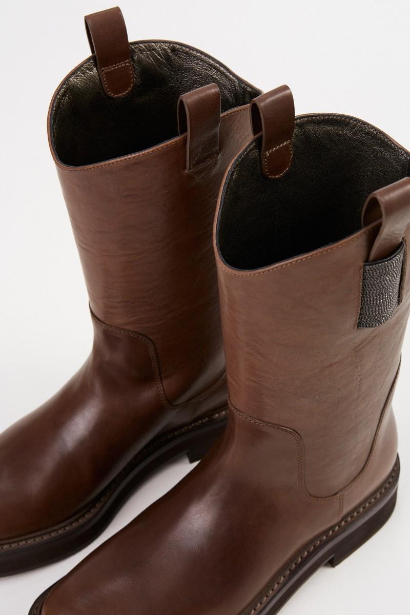 Leder-Stiefel mit Perlenverzierung Braun
