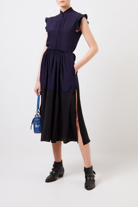 Chloé Langes Seidenkleid Marineblau/Schwarz