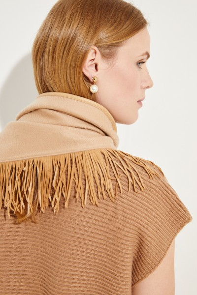 Uzwei Doubleface-Cashmere-Plaid with leather fringes Brown