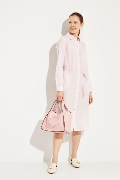 Hemdblusenkleid 'Ticking Stripe' Rosé/Weiß