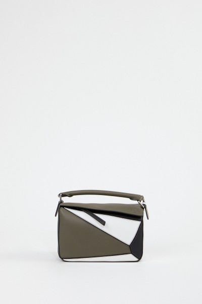 Loewe Tasche'Puzzle Bag Small' Khaki/White