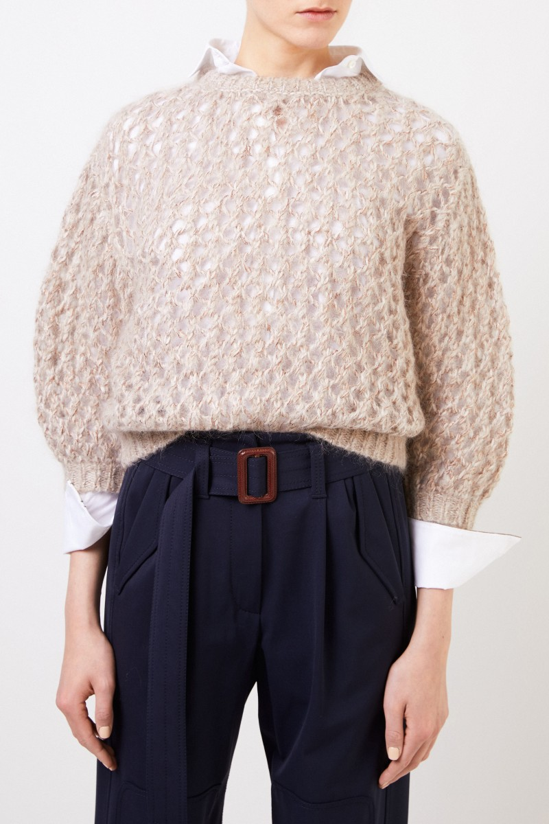 Grobstrick Mohair-Cashmere-Pullover Beige