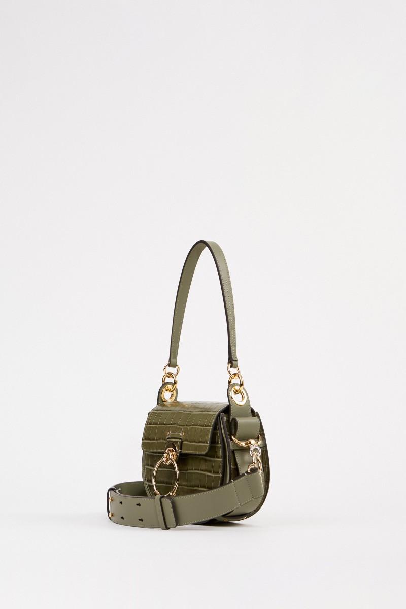 Chloé Shoulder Bag 'Tess Croco Small' Misty Forest
