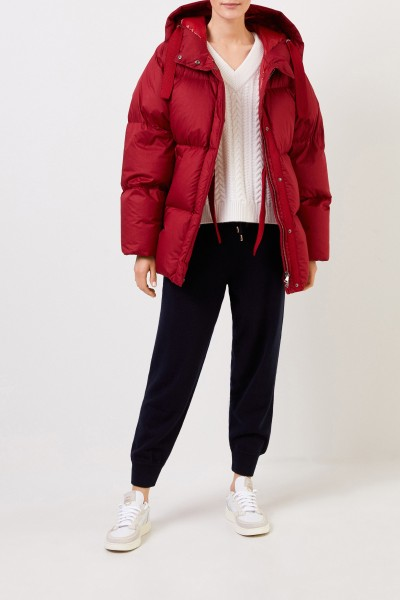 Hooded down jacket Red