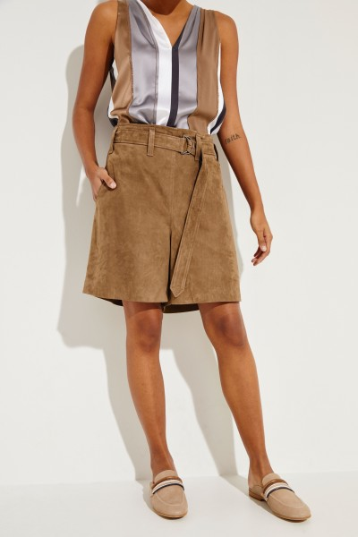 Veloursleder-Shorts Taupe