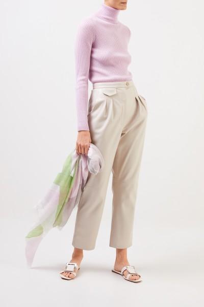 Iris von Arnim Rippstrick-Cashmere-Pullover 'Lawa' mit Rollkragen Rosé