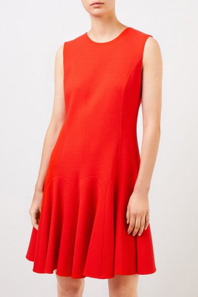 Oscar de la Renta Ausgestelltes Woll-Kleid Rot