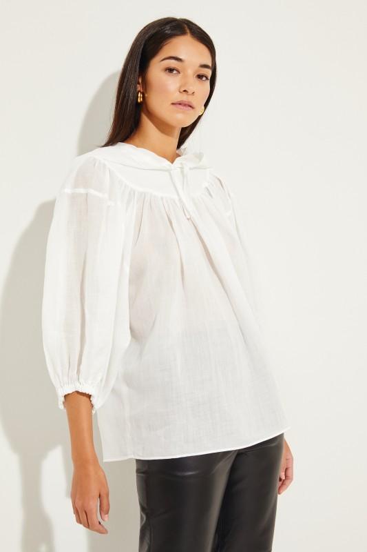 Oversize Bluse mit Kapuze Weiß