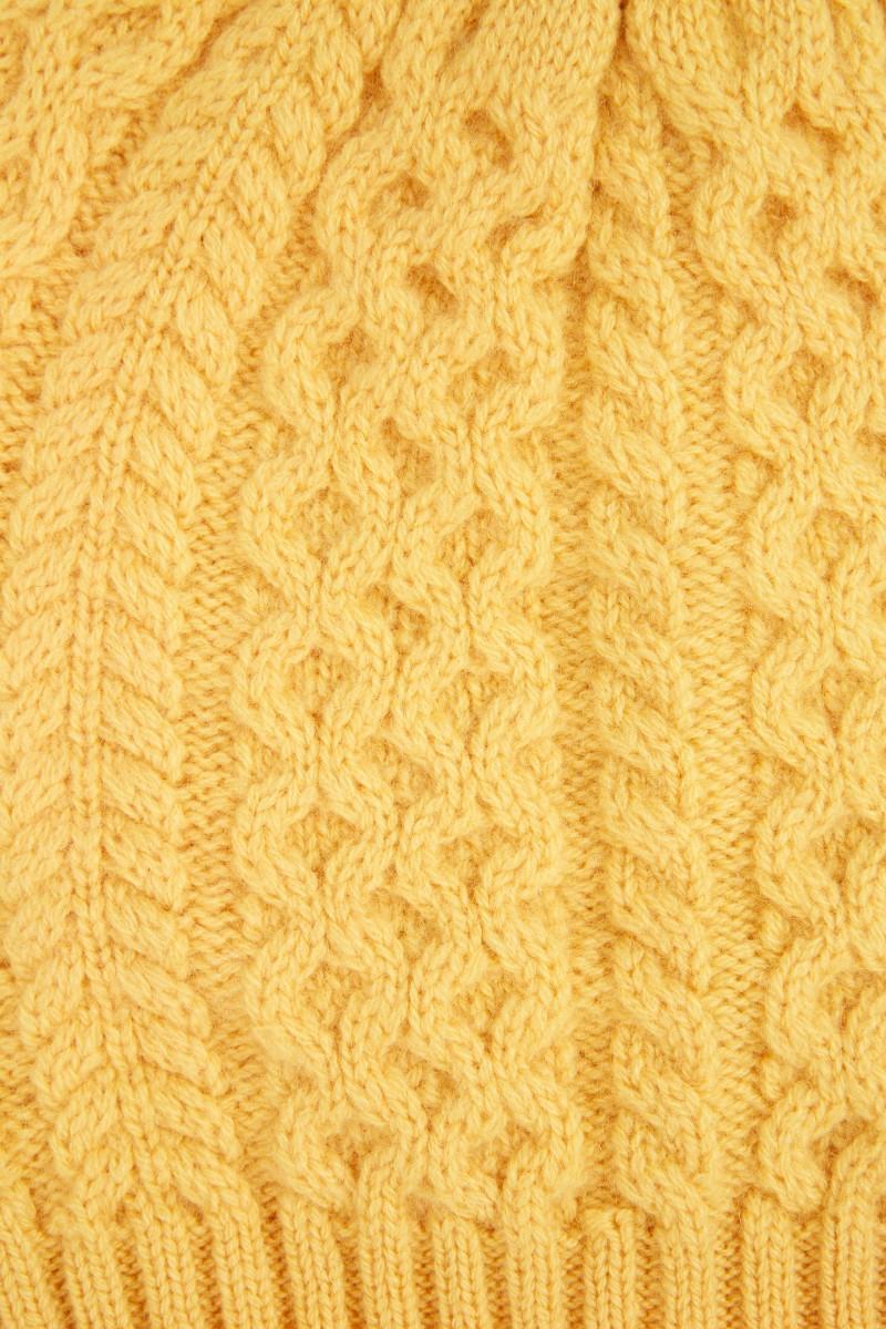 UZWEI Cashmere-Mütze mit Zopfmuster Gelb