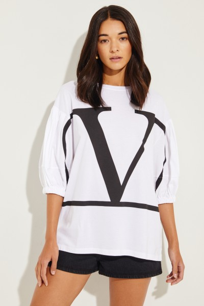 Oversize shirt 'V' White/Black