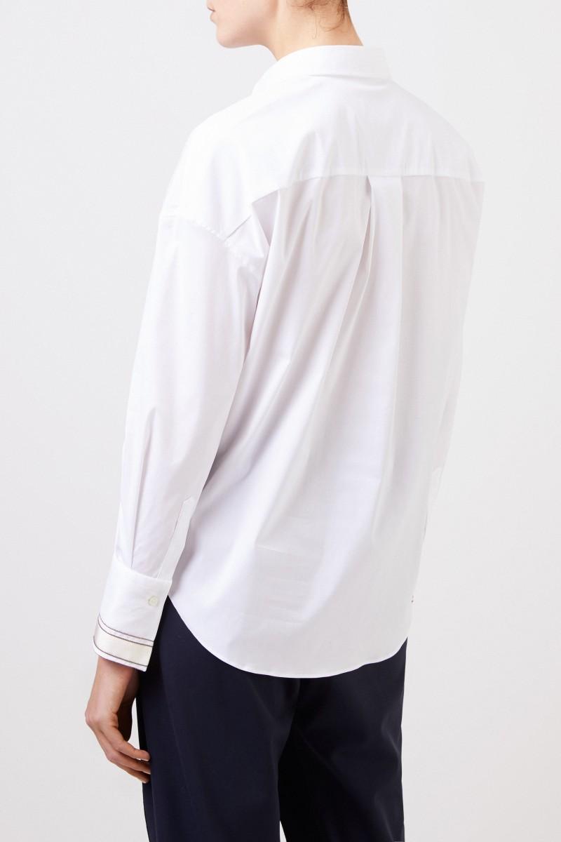 Baumwoll-Bluse mit Ripsdetail Weiß