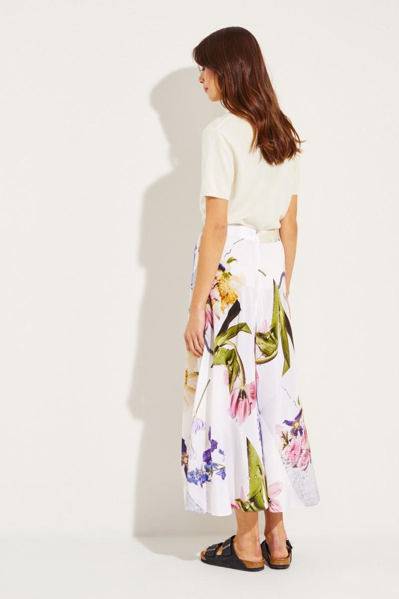 Seiden-Rock mit floralem Print Weiß/Multi