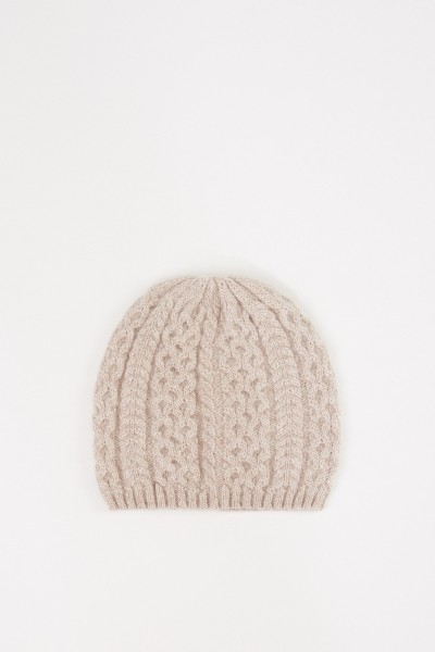 Uzwei Cashmere hat with cable stitch Beige