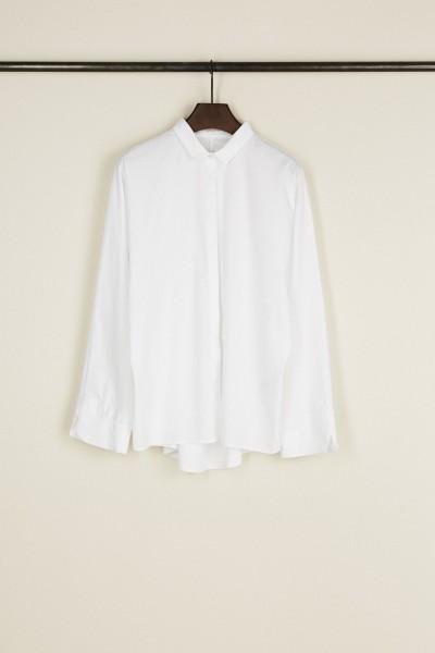 Baumwoll-Bluse mit Faltendetails Weiß