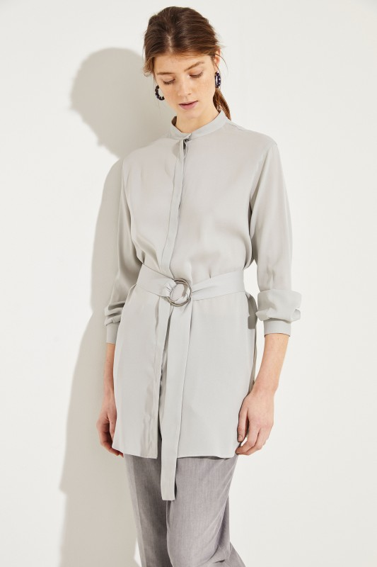 cc9c21bd608e9 Silk Blouse with Belt Grey