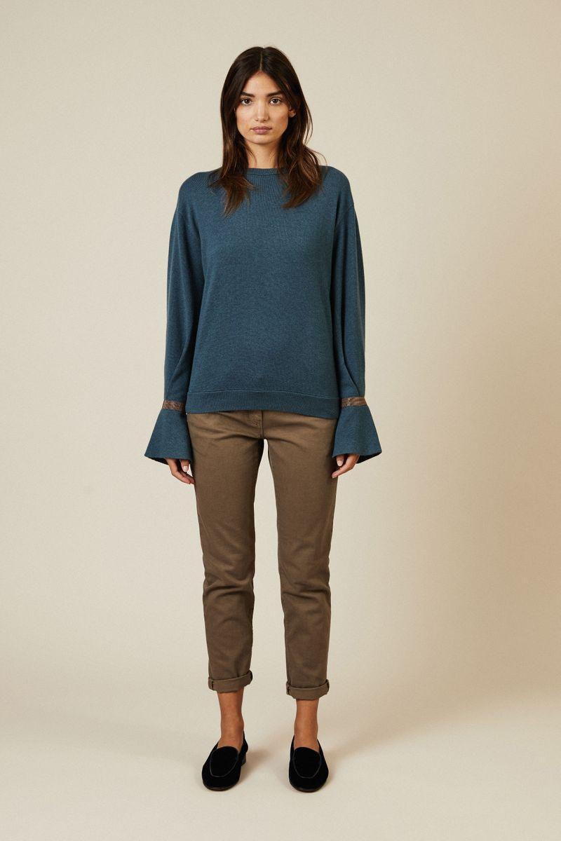 Cashmere-Pullover mit Perlendetails Petrol