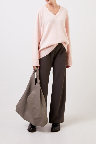 Wool cashmere pullover with v-neck 'Elaine' Light Pink