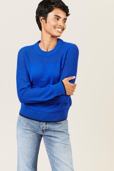 Cashmere-Pullover 'York' Blau/Schwarz