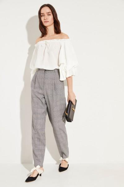 Seiden-Bluse 'Georganne' mit Volants Weiß