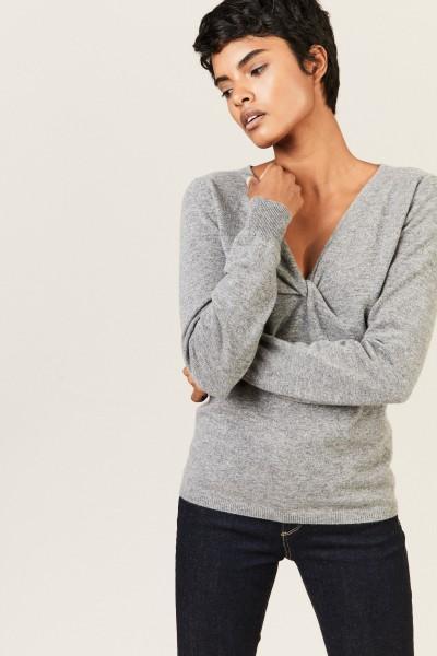 Cashmere-Pullover mit Knotendetail Grau