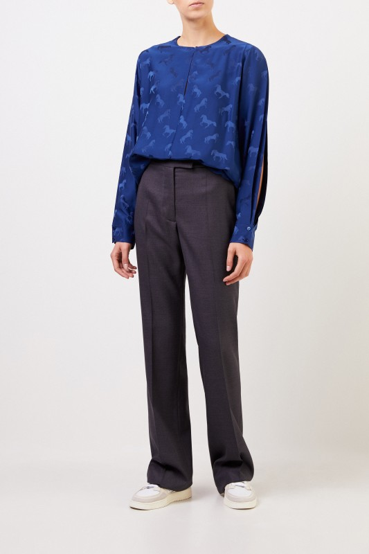 Stella McCartney Seidenbluse mit Pferdeprint Blue Note