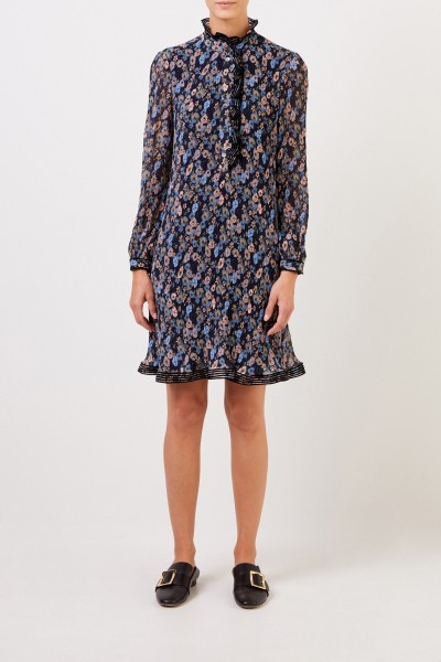 Pleated dress with floral print Blue/Multi