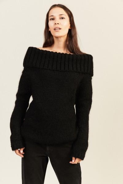 Mohair-Woll-Pullover mit breitem Kragen Schwarz