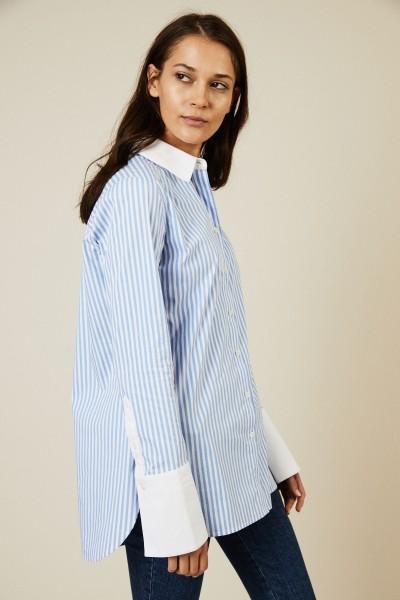 Bluse mit breiten Manschetten Blau/Weiß