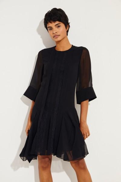 Semi-transparent dress with lace details Black