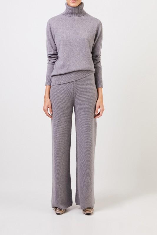 Uzwei Cashmere-Hose mit weitem Bein Grau
