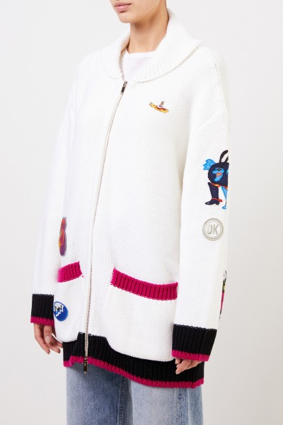 Stella McCartney Woll-Cardigan mit Patches Weiß/Multi