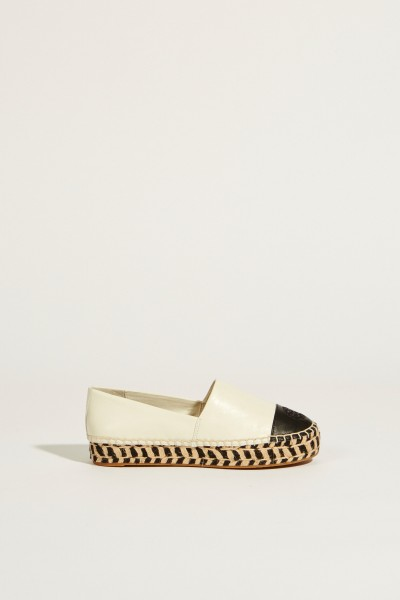 Leather espadrille Cream/Black
