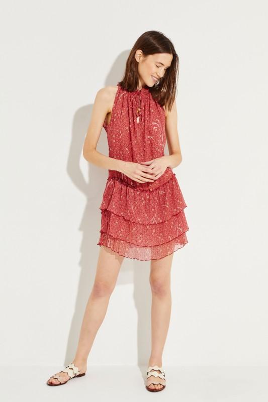 Gemustertes Seiden-Kleid 'Elise' Rot