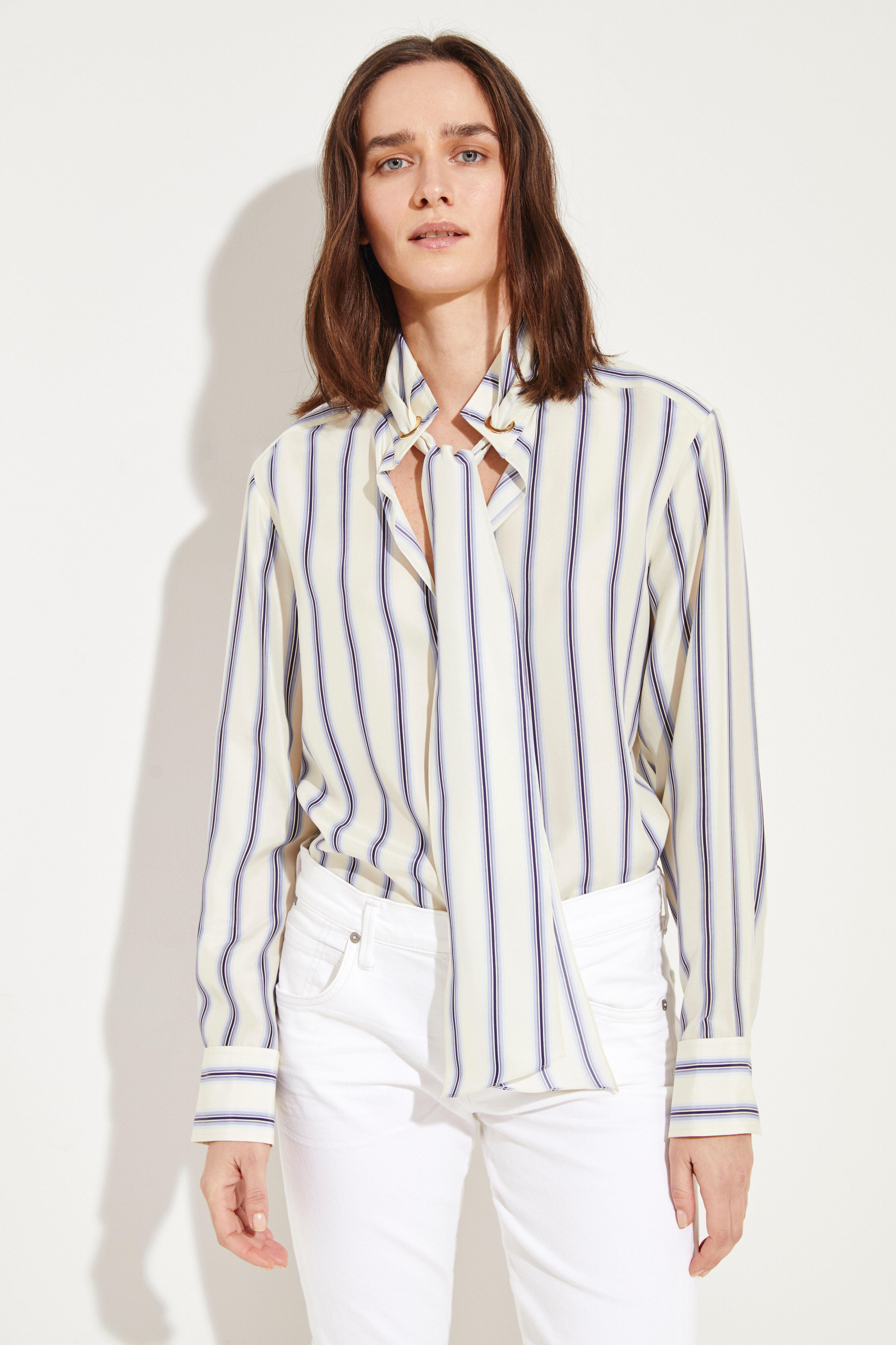 cf8fa9a792085f Striped silk blouse Beige Blue
