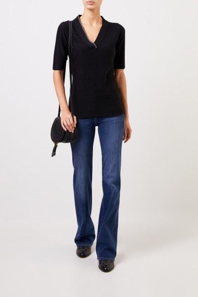 Fabiana Filippi Short sleeve cashmere pullover Black